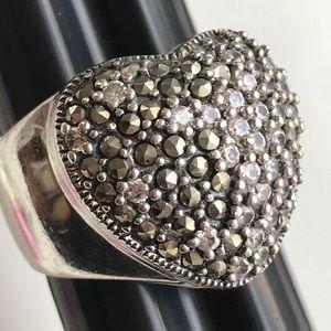 925 cfj thai marcasite Crystal Heart Ring